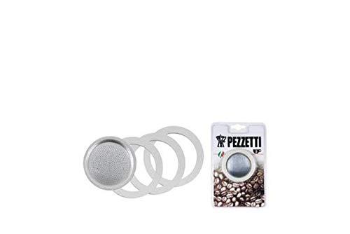 Pezzetti Espressokocher Filter + Dichtungen 6 Tassen für Bellexpress Italexpress Luxexpress