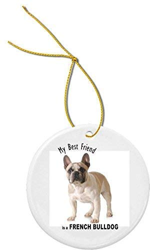 675ParkerRob Christmas Ornaments,My Best Friend French Bulldog Light Brown White Christmas Ornaments,Ceramic,Christmas Tree Decoration,Porcelain Hanging,Xmas Gifts,Birthday,for Mom,for Dad,Kids