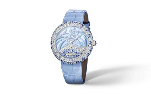 Patek Philippe Calatrava White Gold 4899-901G-001 with Engraved Mother-of-Pearl, Set with Diamonds and Blue Sapphiresdial