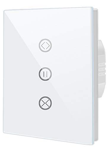 Interruptor inteligente con wifi táctil, temporizador de rolling obturador compatible con Alexa Echo y Google Assistant, mando a distancia para teléfono móvil y función de temporizador.