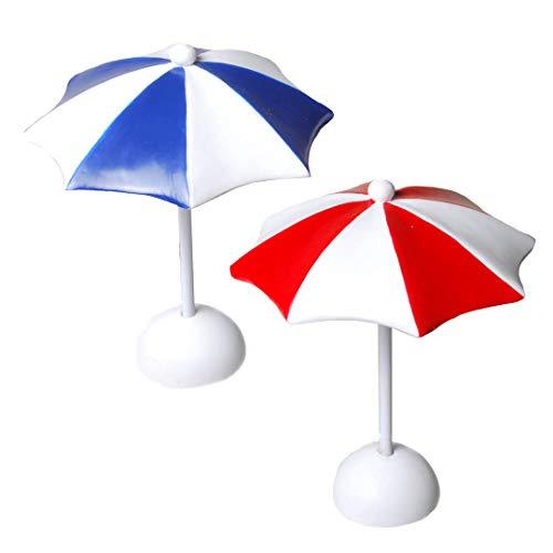 DeCoArt... Mini Sonnenschirm ca 12 cm 2 Stück rot und blau Polyresin Kunststoff zum Basteln, Puppenhaus, Kaufmannsladen