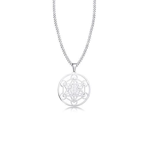 Minekkyes Collar de Cubo Metatron para Mujeres Hombres, árbol de Budismo hindú de Flor Hueco Colgante de declaración de Acero Inoxidable, Cadena de 24'