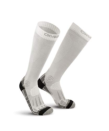 Oxyburn Running Knee-High Energr Dry-Tech L Chaussettes Homme, Blanc/argenté, Size 42/44