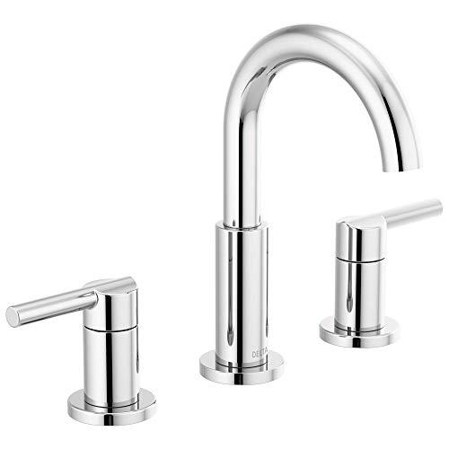 Delta Faucet Nicoli Widespread Bathroom Faucet Chrome, Bathroom Faucet 3 Hole, Bathroom Sink Faucet, Drain Assembly, Chrome 35749LF