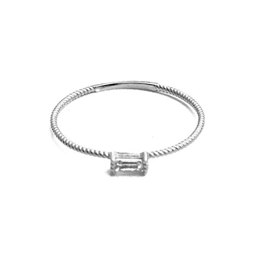 HONEYCAT Tiny Baguette Crystal Ring in 24k Gold Plate | Minimalist, Delicate Jewelry (Twist/S/7)