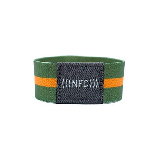 NFC Armband Stoff, flexibel, NTAG216, 924 Byte, grün/orange, Größe M