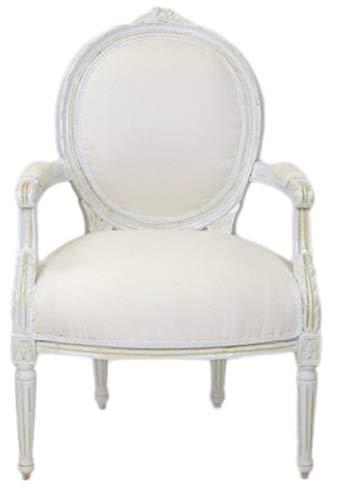 Casa Padrino Barock Medaillon Salon Stuhl Antik Weiß - Möbel Antik Stil