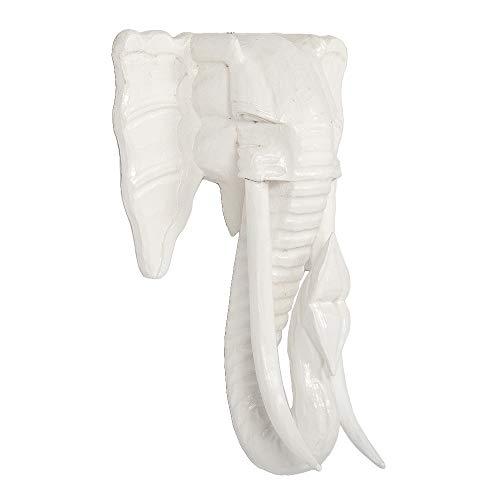 LEBENSwohnART Deko Elefantenkopf TUSK-XL Antik-Weiß ca. H80cm Tierschädel Kopf Wanddeko Holz