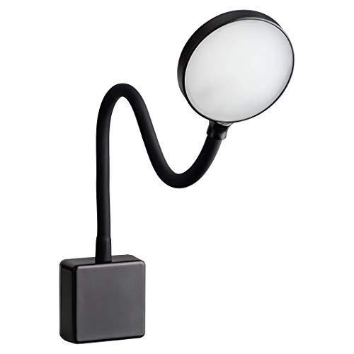 SEBSON LED Steckdosenlampe dimmbar schwarz, Leuchte für die Steckdose 4W, Steckerleuchte mit Schwanenhals flexibel neutralweiß 4000K - Leselampe, Nachtlicht