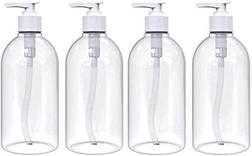 Uplife Lot de 4 bouteilles plastique PET Transparent 500ml flacons pompe rechargeables. Idéal pour les articles de toilette de voyage, les liquides, le shampoing, le conditionneur de cheveux