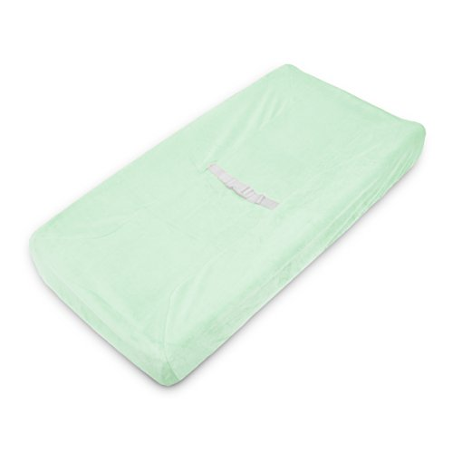 American Baby Company Heavenly Soft Chenille Fitted Contoured Changing Pad Cover, Mint, for Boys and Girls