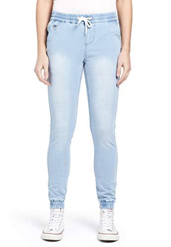 khujo Damen Hose Erie im Joggpants-Stil und Denim-Look mit elastischem Bund