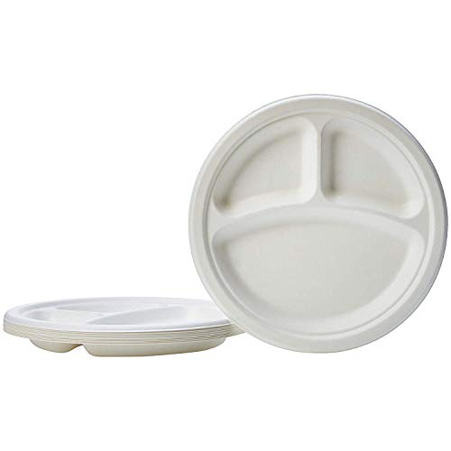 Paper Plates Super Rigid Biodegradable Disposable Bagasse Plates Eco Friendly Compostable White Perfect for Picnics BBQs and Parties (9 Inch 3 comp 50)