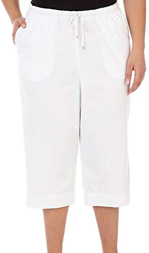 Coral Bay Plus Pull On Drawstring Capris 3X White