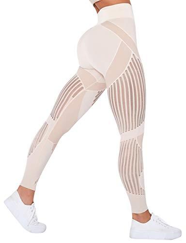 SHAPERIN Damen Mesh Nahtlos Booty Leggings Tik Tok Gym Tights Hollow Out Scrunch Butt Leggins High Waist Cellulite up up Leggings Fitnesshose Po Lifting Lauftights(Beige,M)