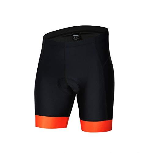 "bpbtti Mens Gel Padded Cycling Shorts Bike Biking Pants Biking Bicycle Tights (M - Waist 32-34"", Black/Orange)"