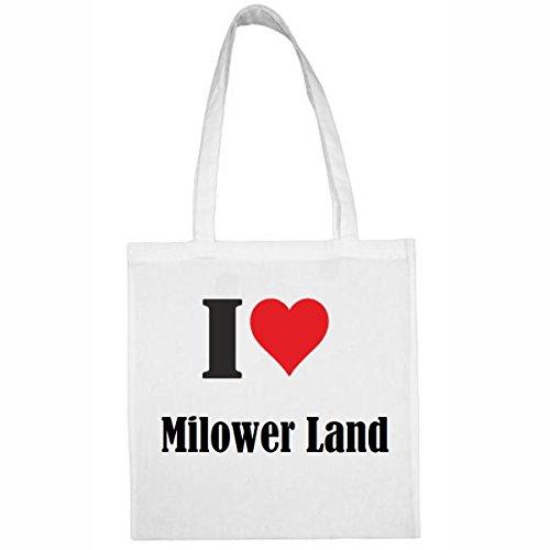 Tasche I Love Milower Land Größe 38x42 Farbe Weiss Druck Schwarz
