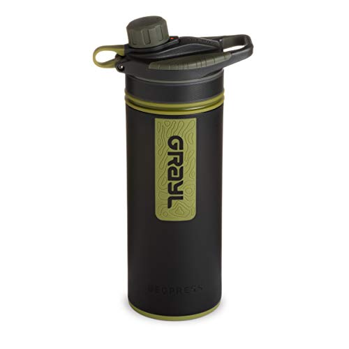 GRAYL GeoPress 24 oz Water Purifier Bottle - Filter for Hiking, Camping, Survival, and Travel (Camo Black)