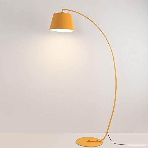HHKQ Lámpara de Arco con Base de Metal, Lámpara de Pie para Salon Dormitorio Estudio, Lámpara de Suelo LED Regulable con Mando a Distancia, Lámpara de Piso Diseño Moderno, E27, 12W,Amarillo