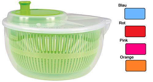 allaroundprofi24 Salatschleuder Salat Schleuder Salattrockner Salatmanager mit Kurbel Sieb Neu (Pink) + 1 Mikrofasertuch Vani