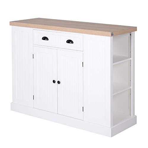 HOMCOM Küchenschrank, Küchenregal, Unterschrank mit Schublade, Anti-Kipp, MDF, Weiß, 120 x 45 x 92 cm