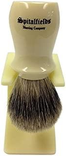 Spitalfields Shaving Company 100% Pure Badger Bristle with Ivory Resin Handle Shaving Brush and FREE Acrylic Stand - Brick Lane - Ivory