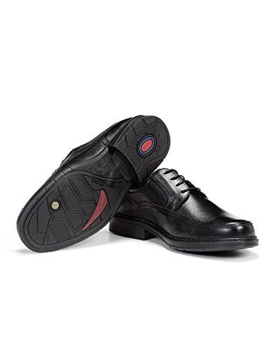 Fluchos | Zapato de Hombre | Clipper 9579 Cidacos Negro Zapatos Confort | Zapato de Piel de Ternera de Primera Calidad | Cierre con Cordones | Piso de Goma Personalizado