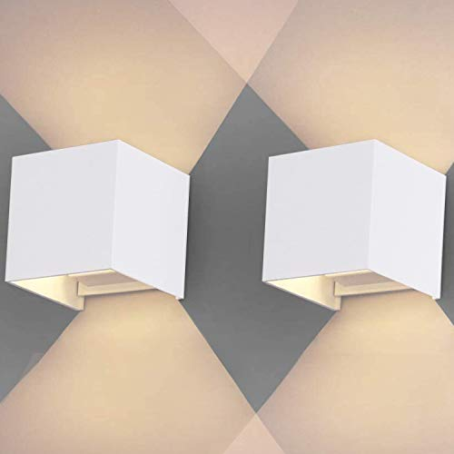 Hengda 2Pcs 7W Lámparas de pared LED para exteriores IP65 Resistente al agua, haz de luz ajustable, arriba y abajo, Decorativo Lámparas de pared para la escalera del hotel Jardín Baño
