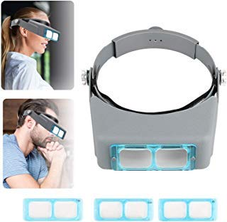 SUNJOYCO Head Mount Magnifier, Professional Jeweler Loupe Headband Magnifying Glasses Magnify Goggles with 4 Replaceable Lenses 1.5X, 2.0X, 2.5X, 3.5X Magnification for Watch Repair, Crafts