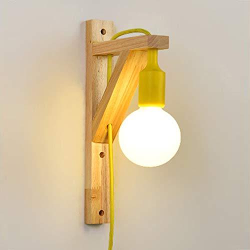WJPL Moderne binnenwandlamp met massief houten lichaam, onafhankelijke schakelaar, wandlamp verlichting voor woonkamer slaapkamer werkkamer leeslamp wandlamp 110-220V/E27