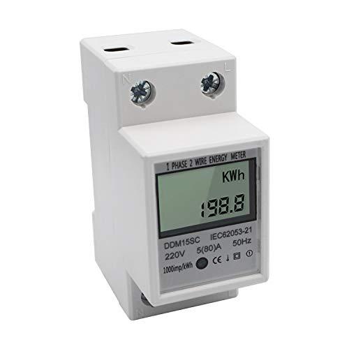 KKmoon Misuratore di Energia su Guida DIN Monofase con Display Digitale LCD 5-80A 220V 50Hz KWh Elettronico Monitor di Consumo Energetico DDM15SC