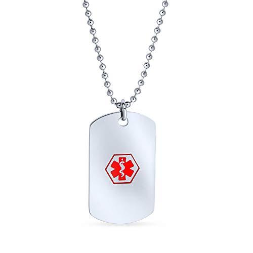 Bling Jewelry Pre-Grabado identificación médica identificación ID para diabético Perro Etiqueta...