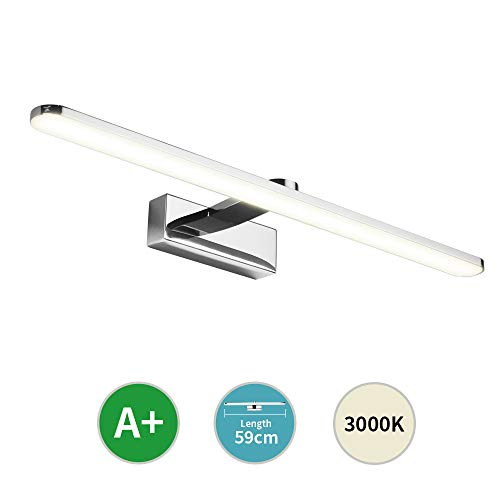 Klighten 12W LED Spiegelleuchte Bad Spiegellampe 59cm IP44 Wandmontage Schanklampe Badlampe Wandleuchte Klemmleuchte 3000K Warmweiß