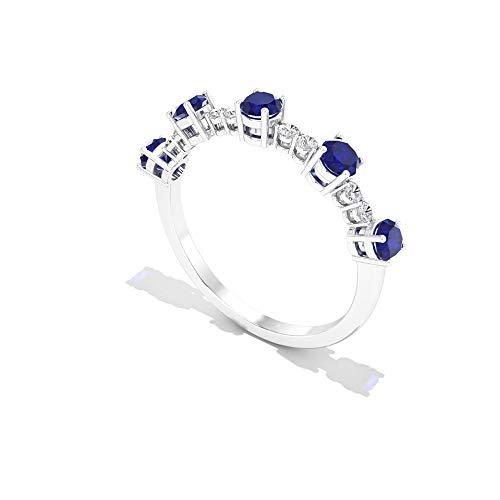 Anillo de oro de eternidad de zafiro azul de 0,75 ct, 0,10 ct SGL certificado de diamante, IJ-SI claridad de color, anillo de novia de diamantes, 14K Oro amarillo, Size:EU 68