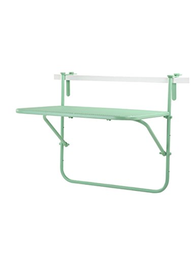 Creative simple Casual tables en métal fer mallage balcon suspendu mur suspendu table pliante tables d'étude (3 couleurs en option) ( couleur : Vert , taille : L*W*H: 73*53*64cm )