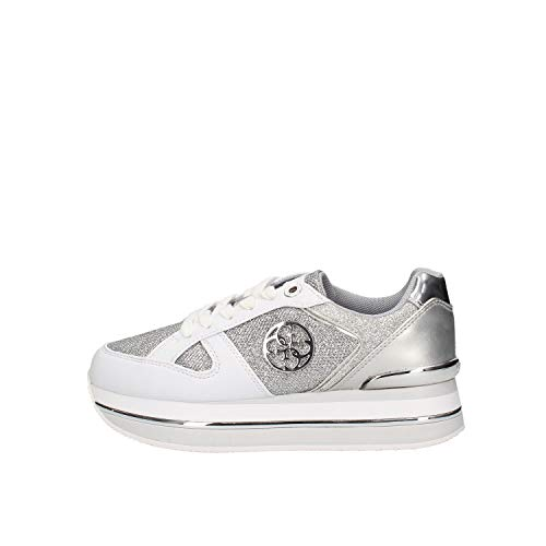 Guess Scarpe Donna Sneaker Running Dealy in Ecopelle Bianco/Glitter Silver DS20GU19