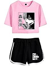 My Hero Academia Pantalones Cortos Top Corto Set Todoroki Shoto Cosplay 2 Piezas Pantalones de Manga Corta Trajes Camiseta Disfraz Boku No Hero Academia Ropa Deportiva para Mujeres niñas