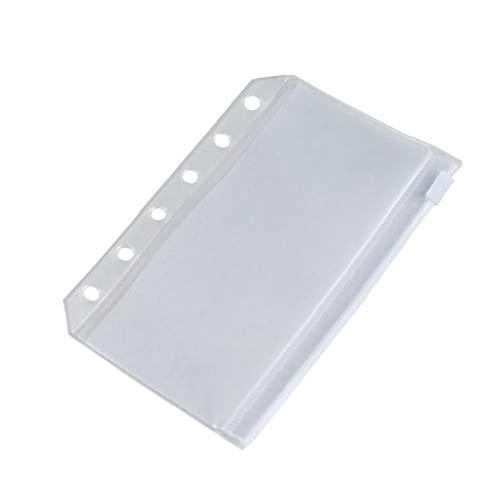 GGOOD Document File Bag 6 Holes Durchsichtiger Kunststoff PVC Binder Taschen Blatt Schutz Notebook Refills Visitenkartenhalter Aufbewahrungstasche Fit 6 Ring Ungeheftetes Planner Notebook 1pc