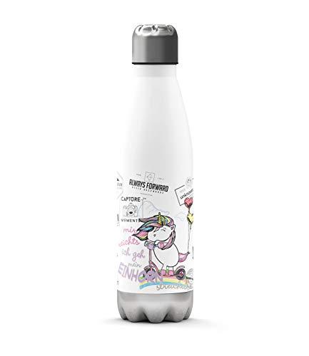Sunnywall Premium Edelstahl-Thermosflasche mit niedlichen Motiven kalt & heiß Thermoskanne Isolierflasche Trinkflasche 500ml Wasserflasche 0.50L Einhorn