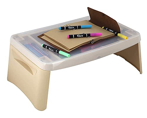 Mokshith Folding Lap, Portable Laptop Desk, Breakfast, Bed Table, Serving Tray with Extra Storage Space for Books, Files, Docs, School Supplies and More, for Kids, Adults,Multi Colour