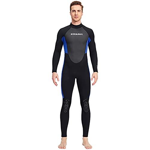 WYCcaseA Traje de surf de neopreno de 3 mm, para hombre, manga larga, traje de buceo largo con cremallera extendida en la parte posterior para deportes acuáticos, azul/hombre, xxl