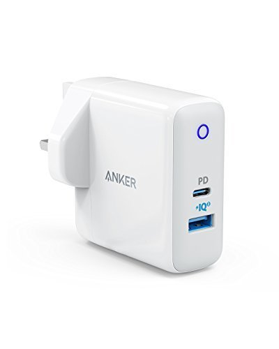 USB C Charger, Anker Dual Port 49.5W Wall Charger, PowerPort II with Power Delivery for MacBook, Pixel, iPad Pro 2018, iPhone X/8 Plus, and PowerIQ 2.0 for S9/S9+/S8+, Note 8, Galaxy Series, and More