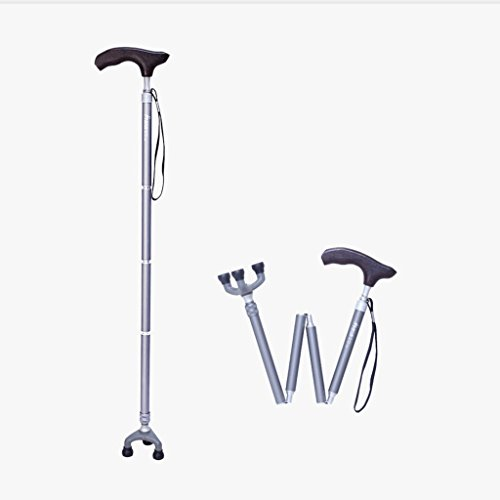 CRRQQ Leichte Gehstöcke mit ergonomischem Holzgriff Krücken 10 Höhenverstellbare Stufen for Männer oder Frauen Arthritis Senioren Behinderte Mit 3 Beinen rutschfeste Basis drehen (Color : Silver)