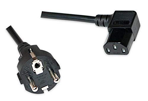odedo® Netzkabel 2 Meter Schuko auf gewinkelte Buchse C13/IEC13 2, gewinkeltes Kaltgeräte Kabel, VDE 10A 250V, 2m rechts abgewinkelt, Power Cord Right Angled