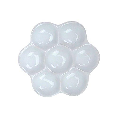 Zhi Jin - 1 x Keramik-Paletten für Künstler mit Löchern und Blumenmotiv - Malpalette für Öl, Aquarell, Zeichnung - Geschenk-Set für Klassenzimmer 9cm/3Inches