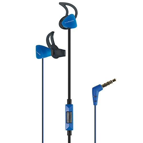 Vivanco SPX 60 In-Ear Sport-Kopfhörer mit Mikrofon, Headset, Ohrhörer für Smartphone, Handy, MP3-Player, IXP4 spritzwassergeschützt, mit Fernbedienung und 3,5 mm Winkelstecker schwarz blau
