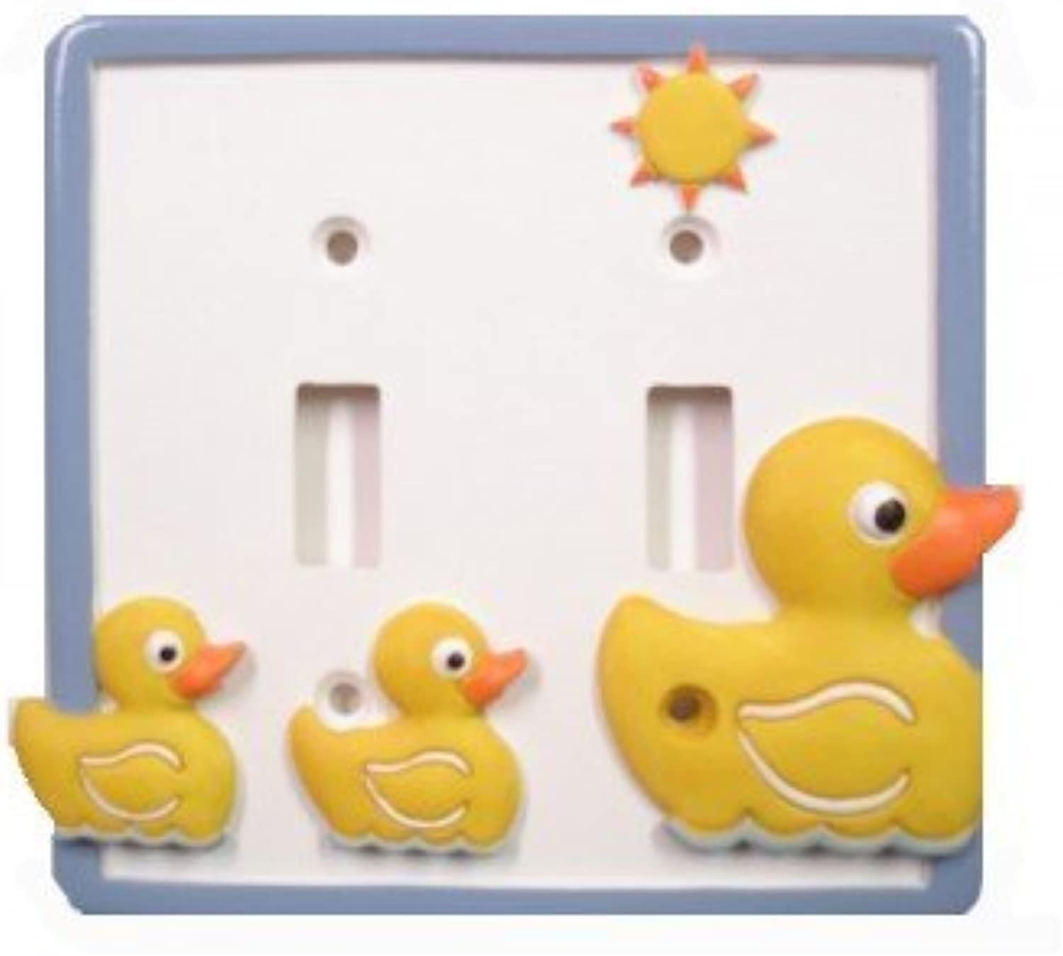 Just Ducky Double Light Switch Plate  Yellow Rubber Duck Bathroom Decor by Borders Unlimited