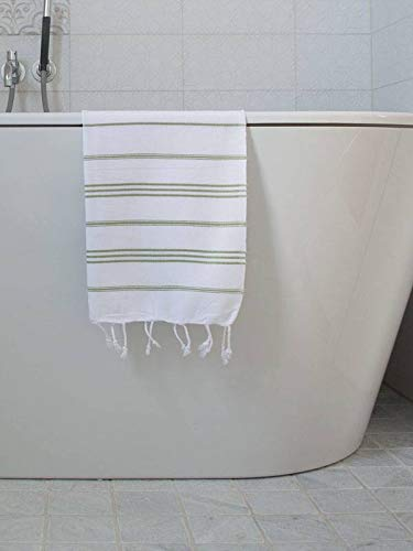 Hamam Handdoek Wit Met Mosgroene Strepen 100x50cm - sneldrogende handdoeken - saunadoek - kleine hamamdoek - reishanddoek - zwem handdoek
