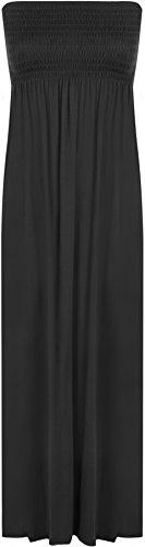 WearAll - Damen einfachen Shirred Bandeau trägerloses mit rüschen besetztes langes Maxi Kleid - Schwarz - 36-38