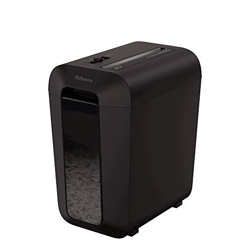 Fellowes LX65 - Destructora trituradora de papel, corte en partículas, destruye hasta 10 hojas, uso personal, tritura tarjetas de crédito, color negro